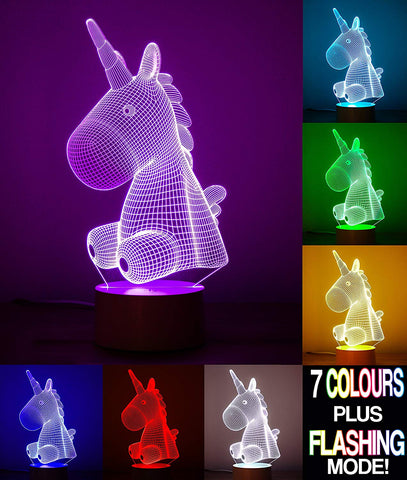 Unicorn Lamp - 7 Colour Changing Optical Illusion 3D Lamp