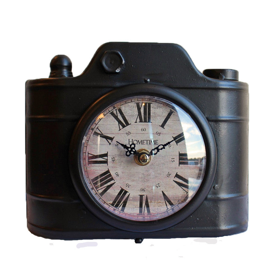 Hometime Brown Polaroid Camera Metal Mantel Clock