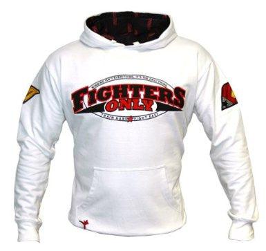 Fighters Only ~~ Branded MMA Hoodie Top ~~ Classic in White (X-Large)
