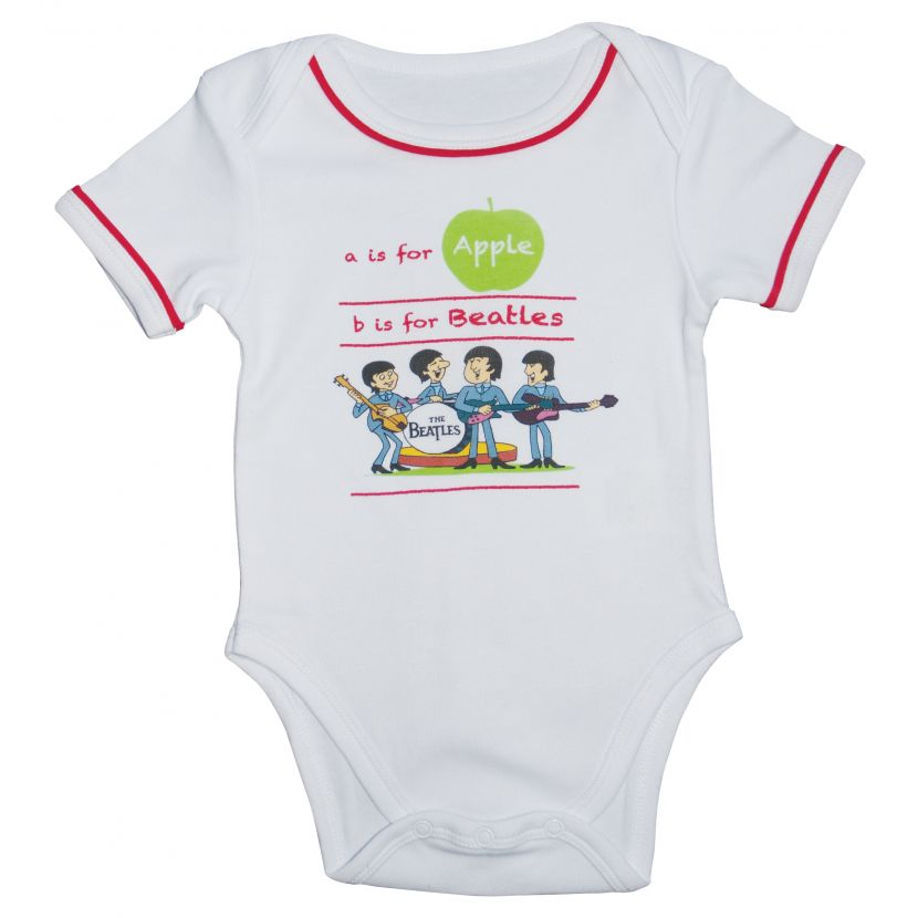 The Beatles A Is For Apple Short Sleeve Baby Bodysuit