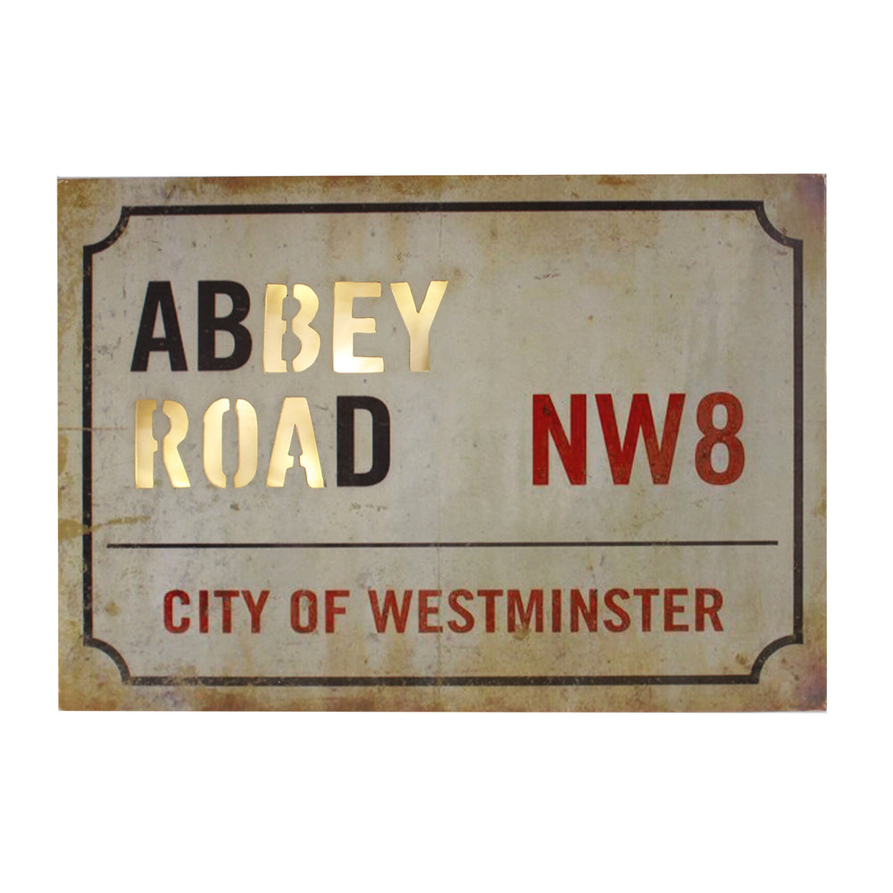 Light Up MDF Street Sign Wall Plaque - Abbey Road