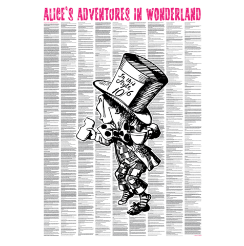 'Alice In Wonderland' (Hatter Version) Full Book Text Poster Print