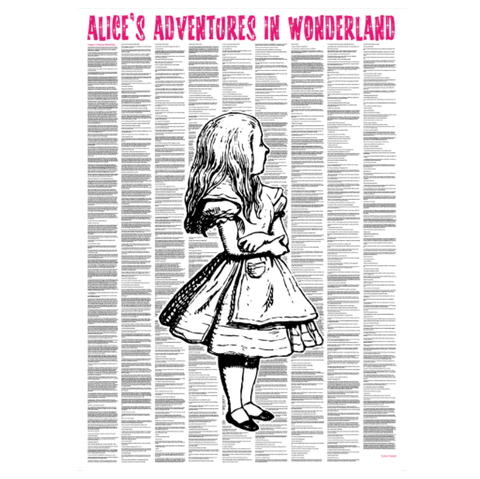 'Alice In Wonderland' (Traditional Version) Full Book Text Poster Print