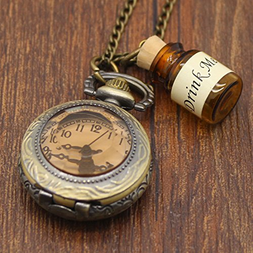 Vintage Style Alice in Wonderland Drink Me Bottle Pocket Watch Necklace
