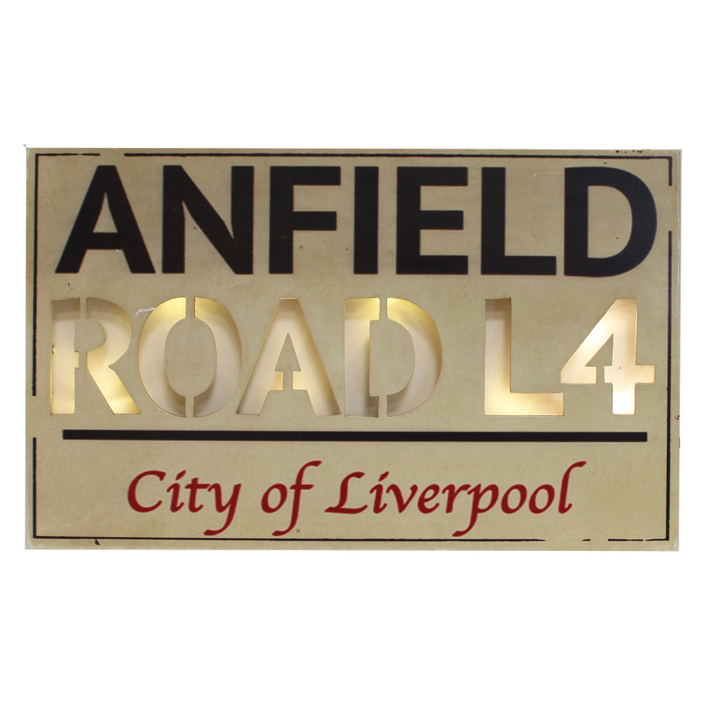 Light Up MDF Street Sign Wall Plaque - Anfield Road