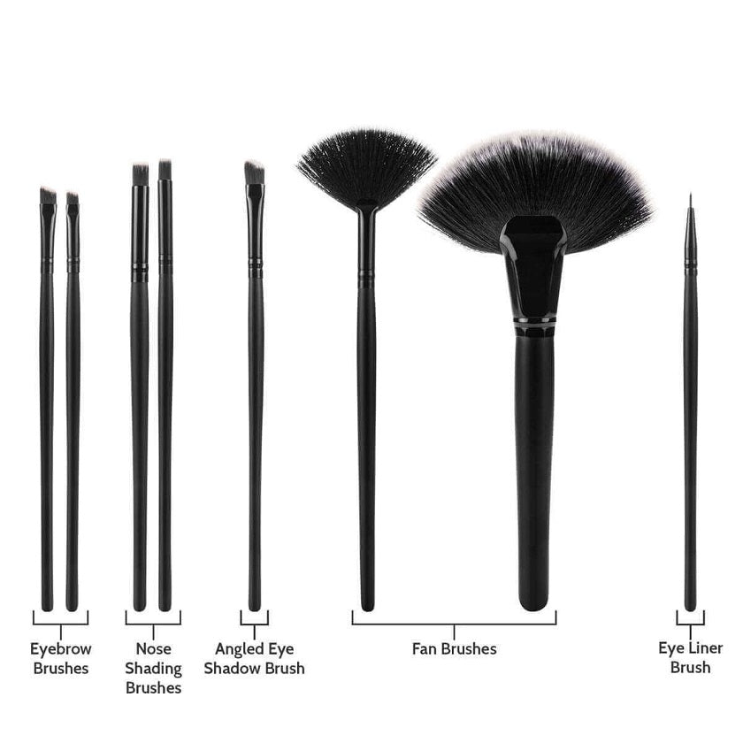 Savisto Premium 32 Piece Makeup Brush Set Black Fans