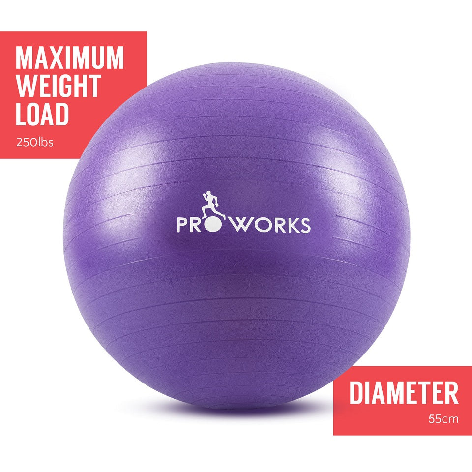 Proworks Anti-Burst Exercise Ball 55cm with Pump (Purple)