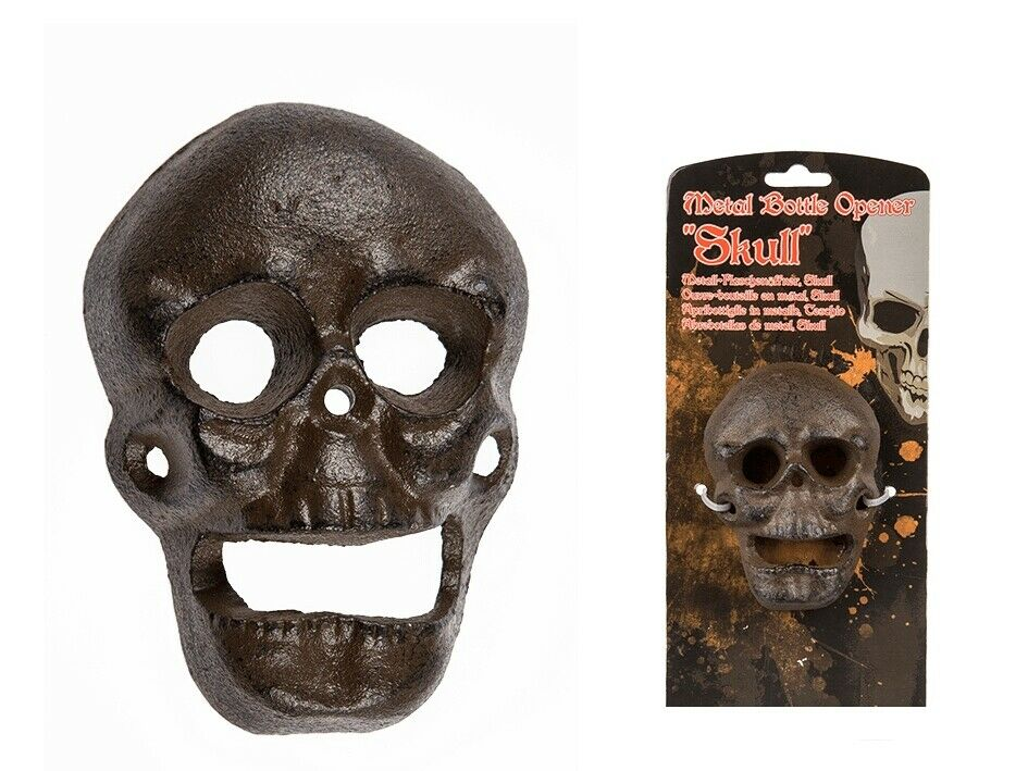 skull wall mounted bottle opener for beer with package