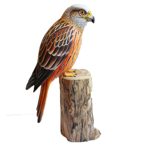 Red Kite Bird On Wooden Log 30cm