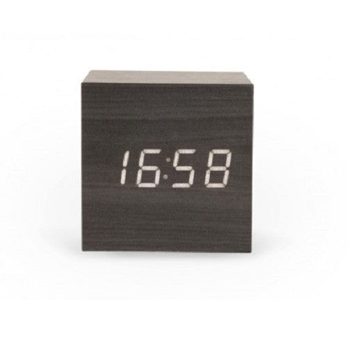 Black Wood Effect Interactive Single Display Cube Clock White LED