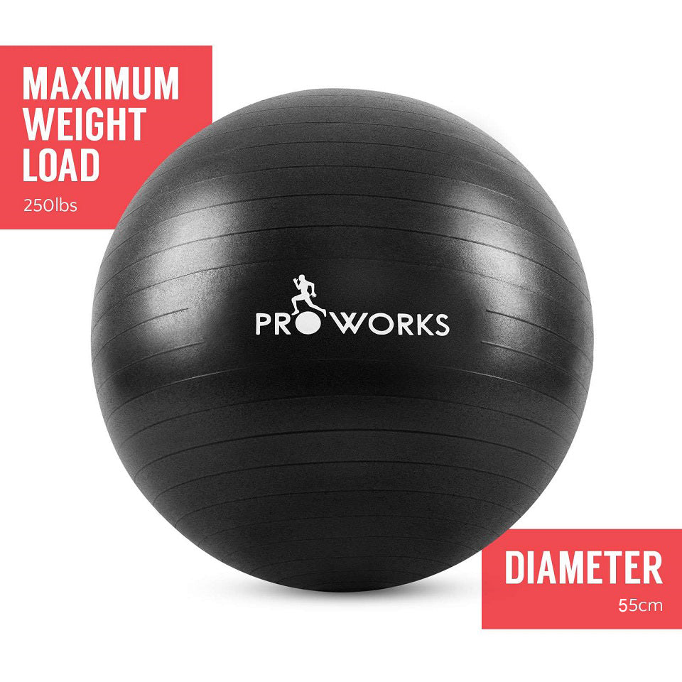 Proworks Anti-Burst Exercise Ball 55cm with Pump (Black)