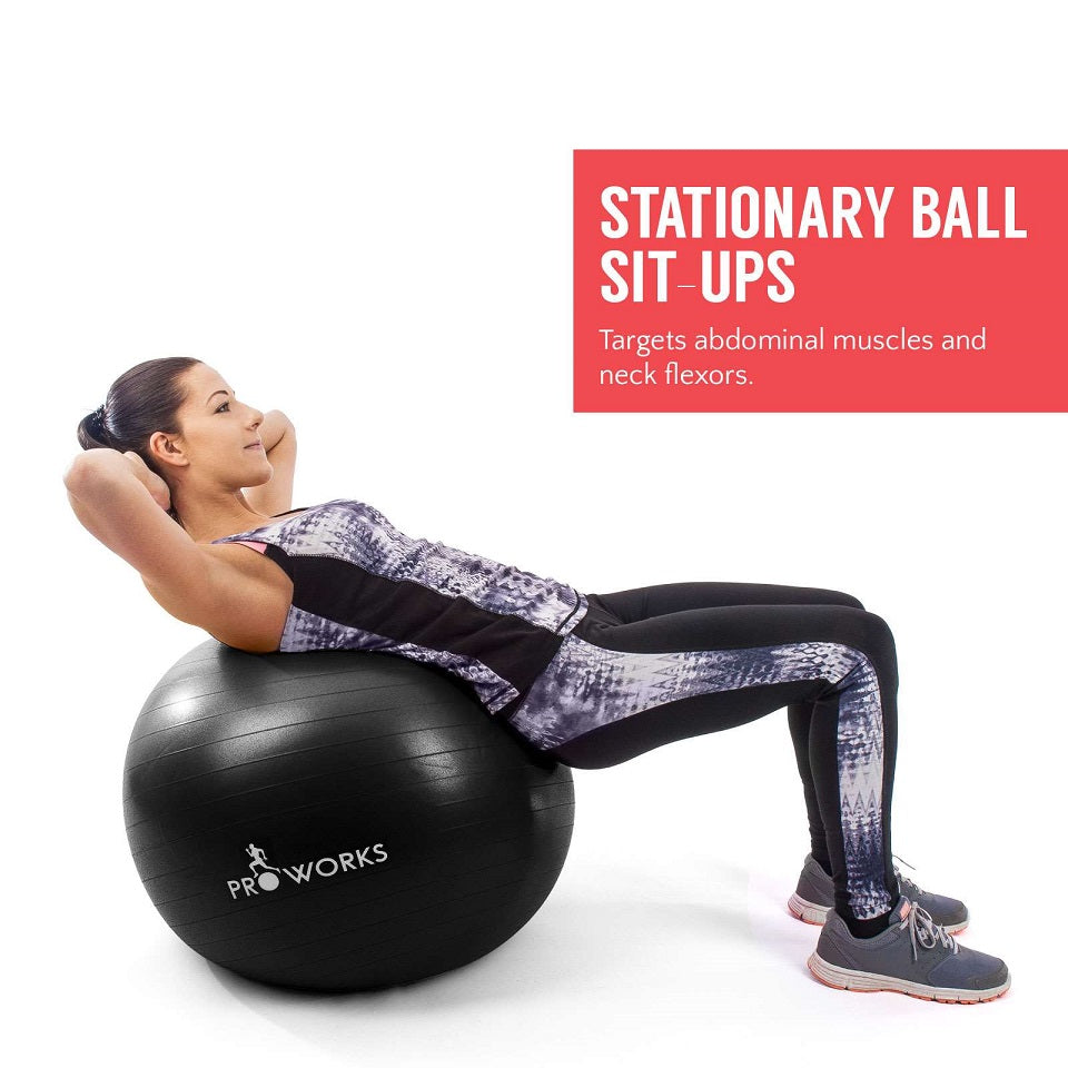 Proworks Anti-Burst Exercise Ball 65cm with Pump (Black) Sit Ups