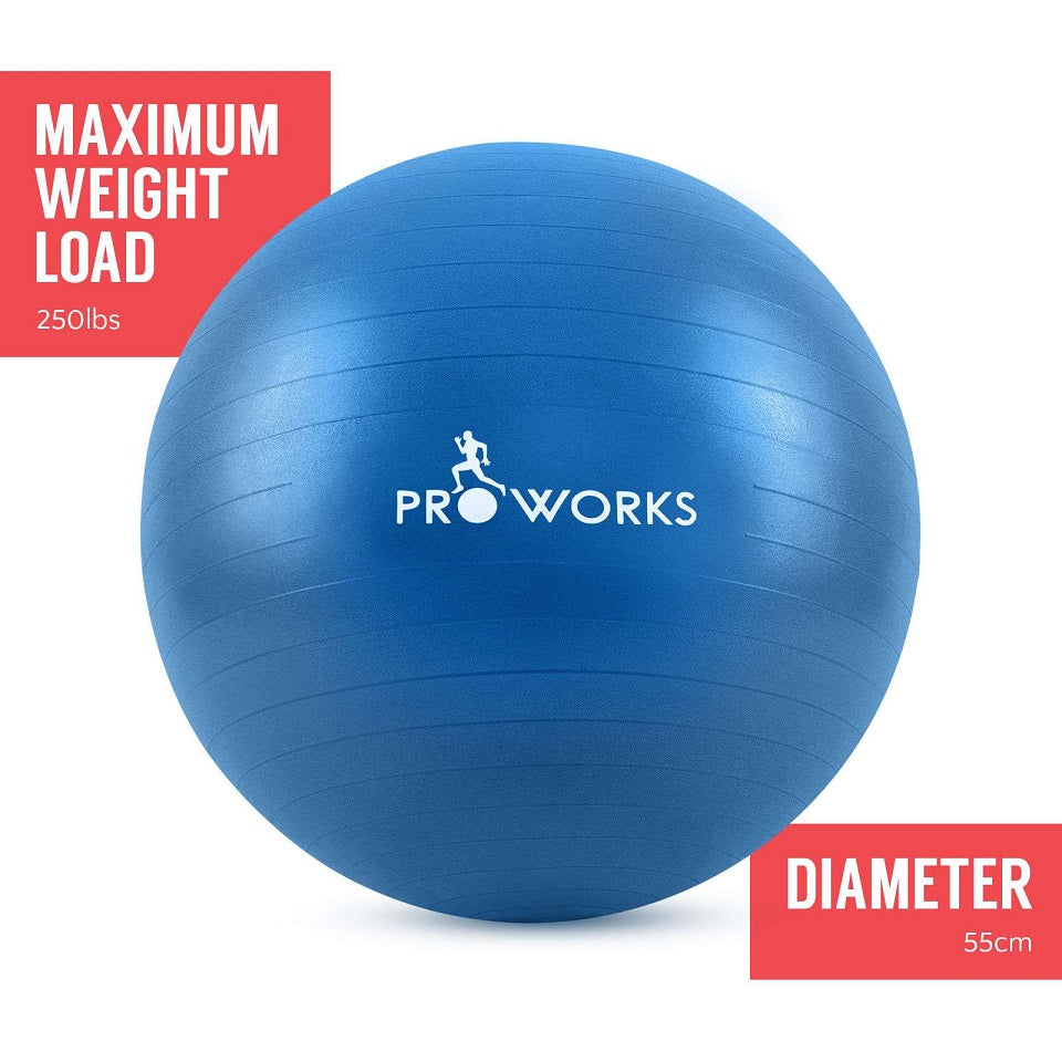 Proworks Anti-Burst Exercise Ball 55cm with Pump (Blue)