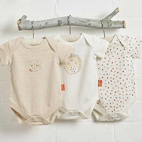 Natures Purest 'Woodland Friends' 3 Pack Organic Bodysuits 0-3 Months