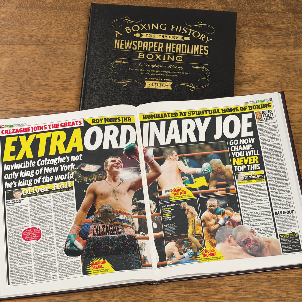 Personalised Boxing Newspaper Book - Black Leather Cover
