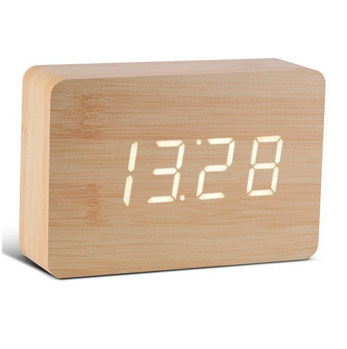 Gingko Brick Click Clock Beech / White LED