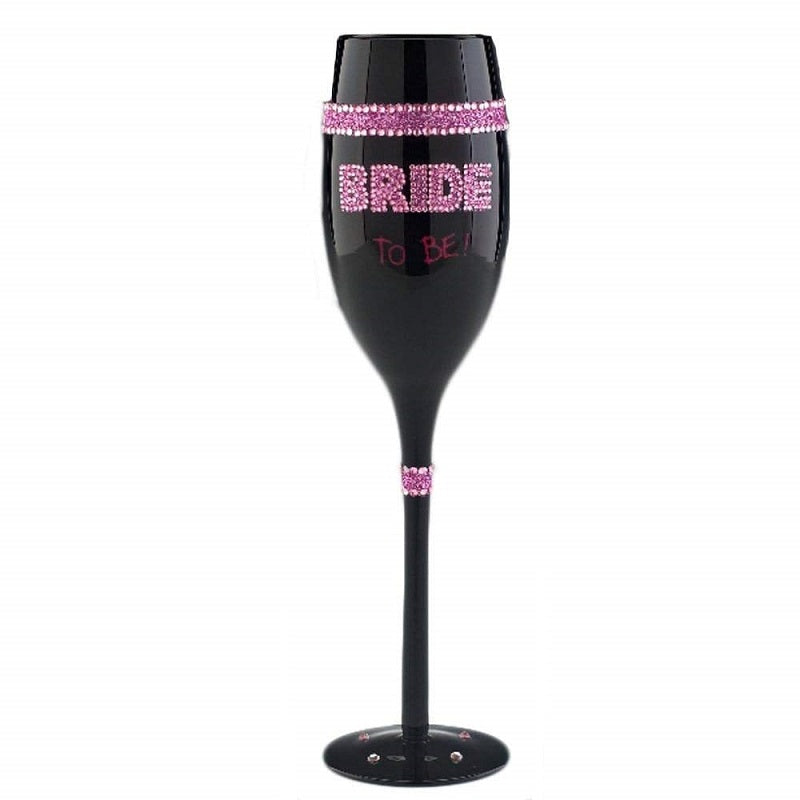 Bride To Be Black Champagne Flute Glass Front