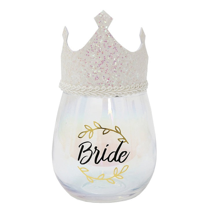 Bride Stemless Wine Glass with Wearable Tiara by Splosh