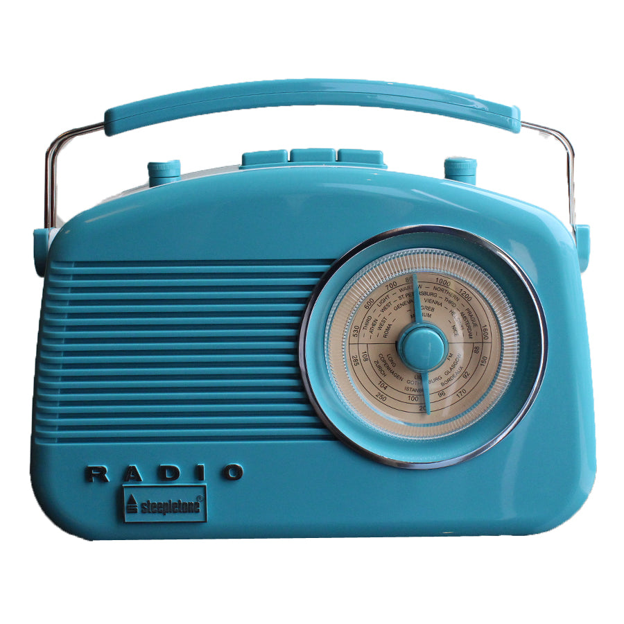 Steepletone Brighton MW-FM-LW Portable Retro Radio - Baby Blue