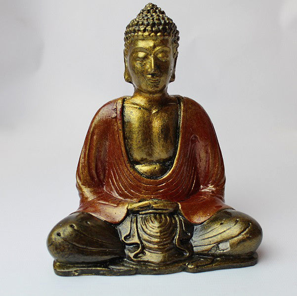 Gold Resin Buddha in Prayer Ornament Figure 15cm