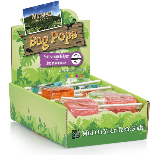 I'm A Celebrity Bush Grub - Bug Pops - Fruit Flavoured Lollipop with Ants or Mealworm