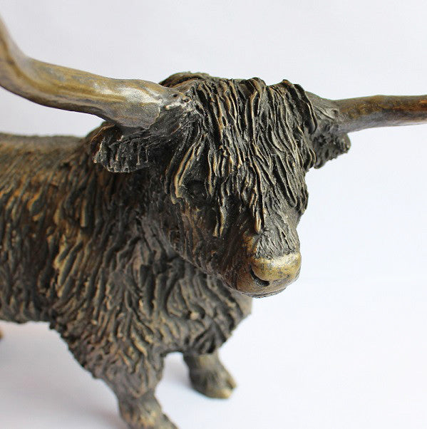 ORIELE BRONZE Cold Cast Bronze Resin LARGE HIGHLAND BULL SCULPTURE Ornament