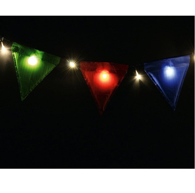 close up of Light Up Bunting with Coloured Flags