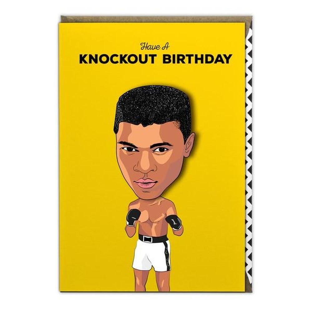 """Have A Knockout Birthday"" Mohammed Ali - Famous Faces Birthday Card"