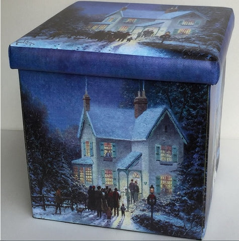 Christmas Carol Singers at House Foldable Storage Cube Seat