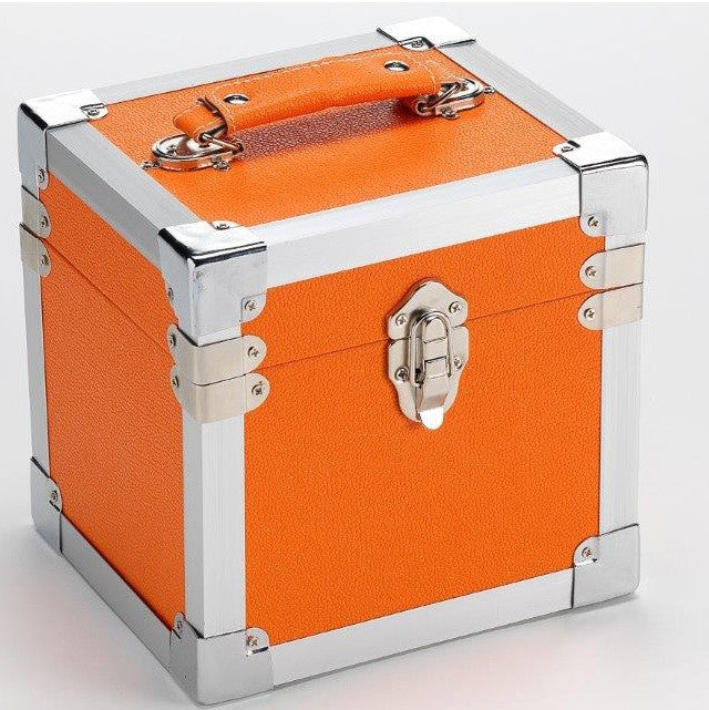 "Portable 7"" Single & CD Storage Carry Case Box - Orange"