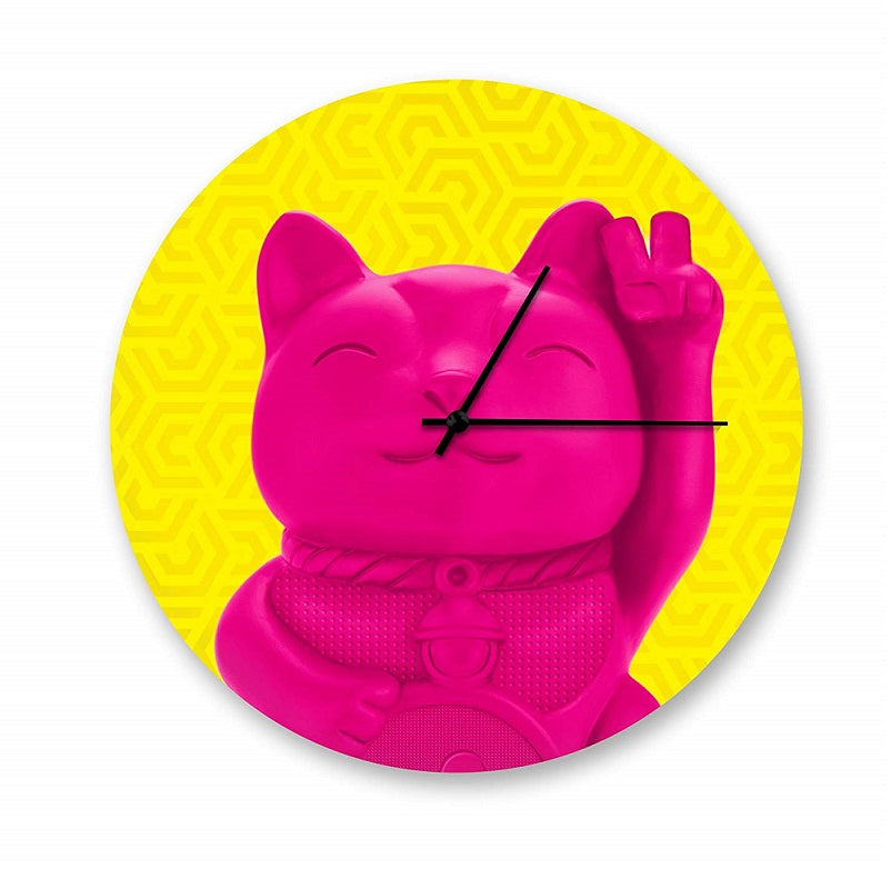 Lucky Cat Glass Wall Clock by Mustard