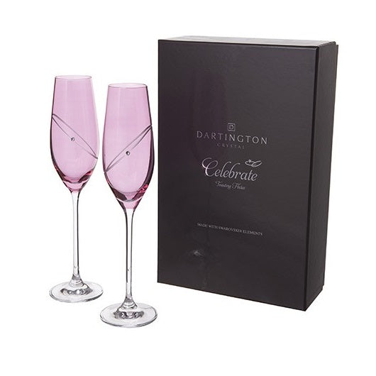 Celebration Glitz Flutes Pair - Ruby