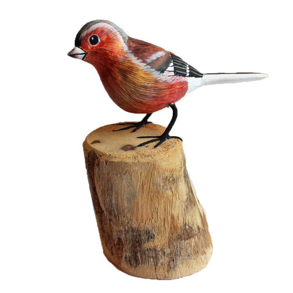 Chaffinch Bird On Wooden Log 12cm