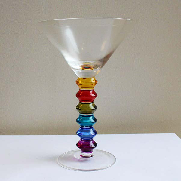 Rainbow Coloured Cocktail Glasses Set of 6