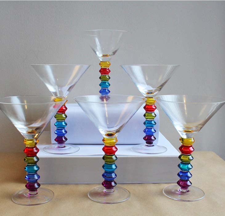 Set of 6 Rainbow Design Cocktail Glasses
