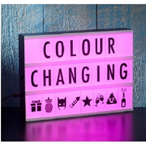 A4 Colour Changing Light Box with Cinema Light Box Letters