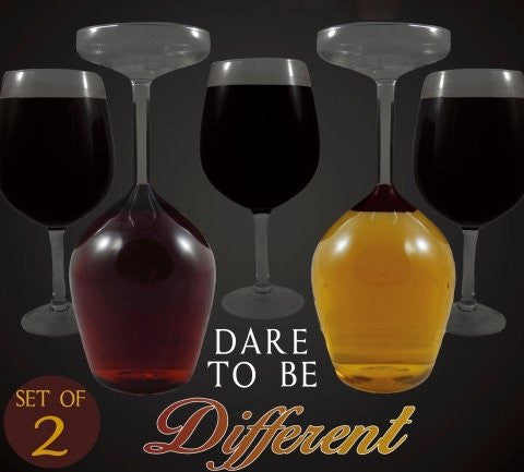 Upside Down Wine Glass Set Of 2 Dare To Be Different