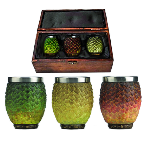 Game Of Thrones Set of 3 Dragon Egg Shot Glasses (Drogon, Rhaegal, Viserion)