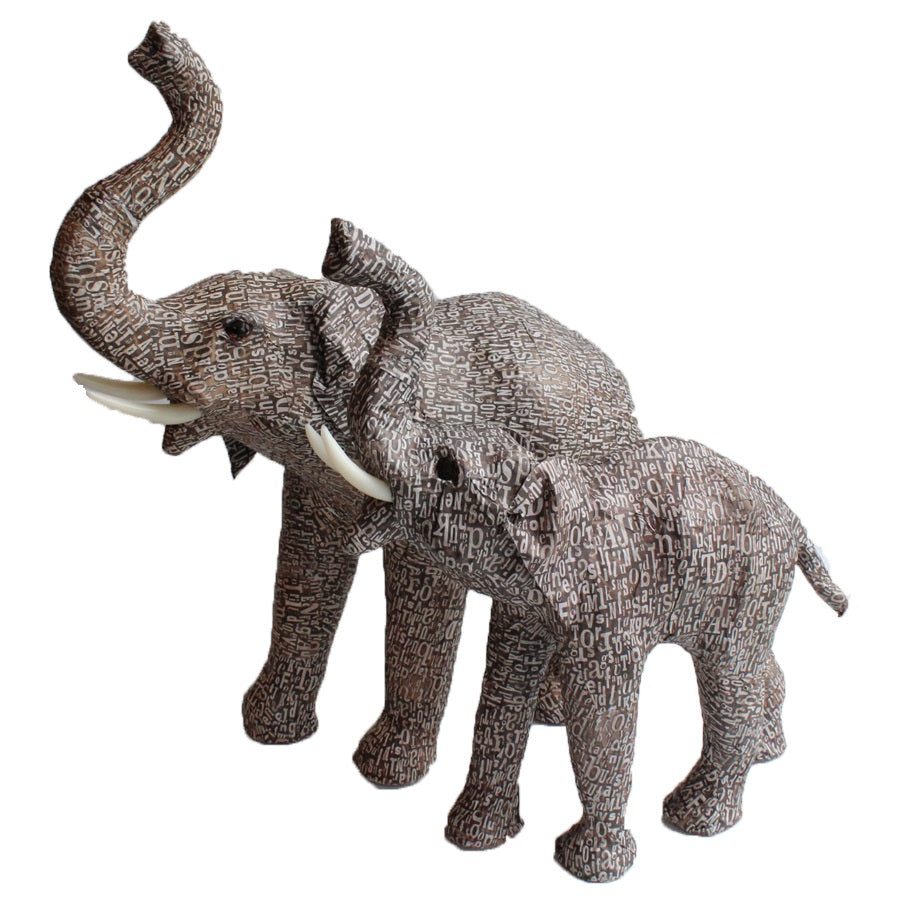 Medium Letter Print Elephant Figurine