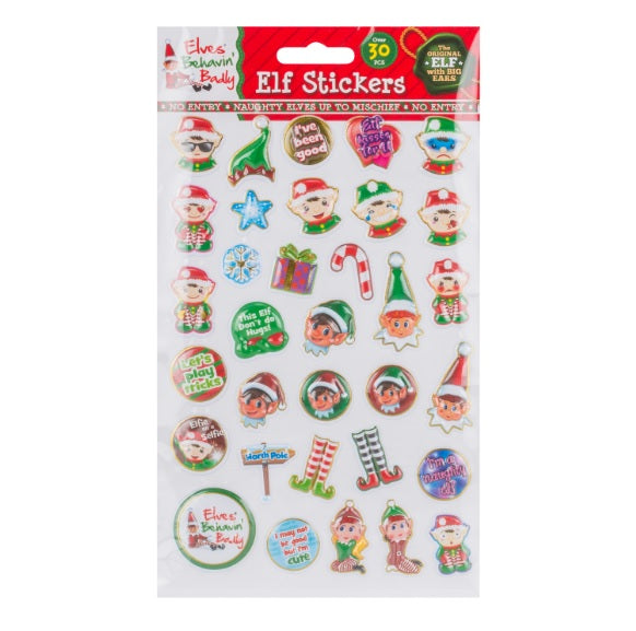 Christmas Elf Stickers 30 Piece Set
