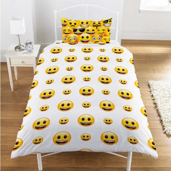 Official Emoji Icons Reversible Single Duvet & Pillow Case Bed Set