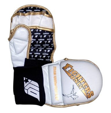 Fighters Only White Leather MMA Safety Gloves -  Small/Medium