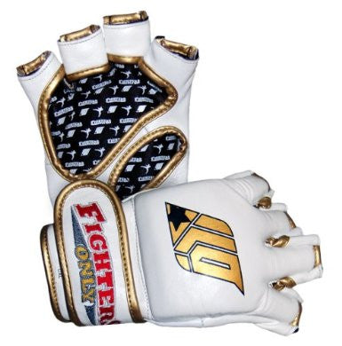 Fighters Only MMA Gloves - White Leather - Grappling Gloves