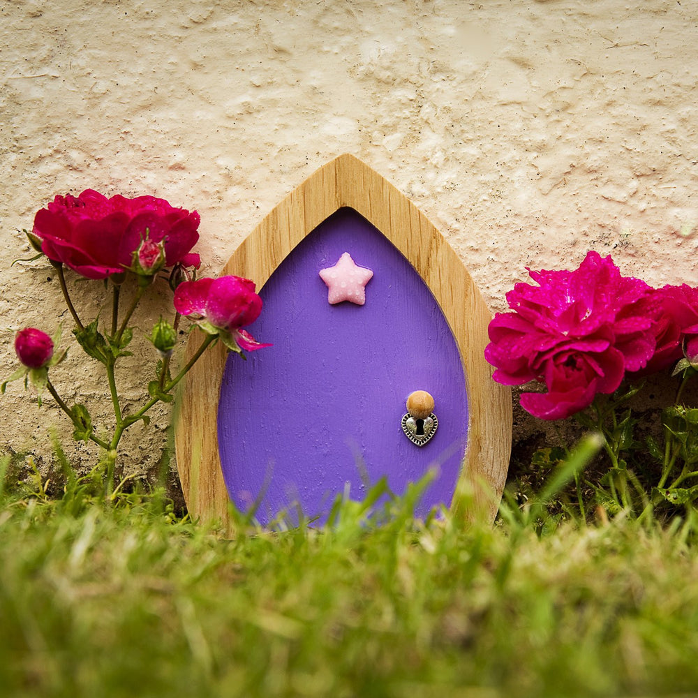 Purple Fairy Door with Star, Key and Magic Fairy Dust