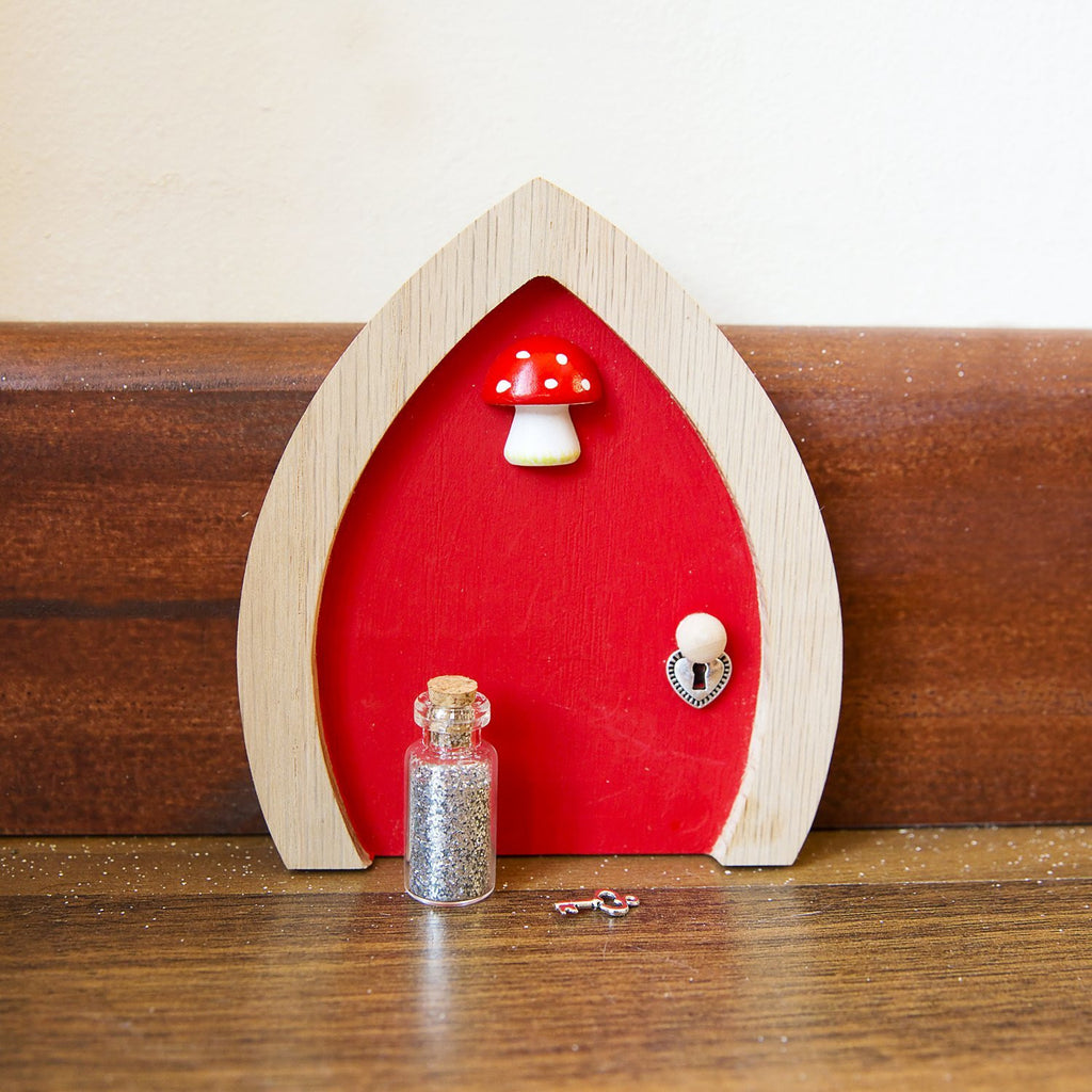 Red Fairy Door With Toadstool Key And Magic Fairy Dust Liberty