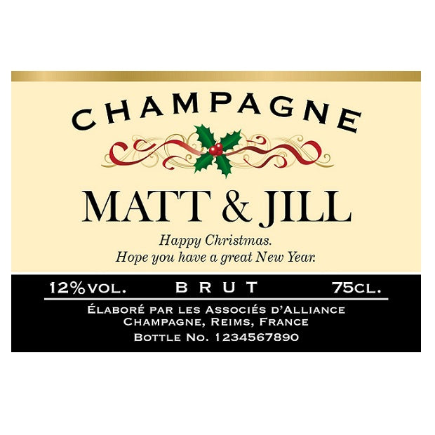 Personalised Festive Labels for Champagne (Pack of 2)