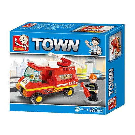 Sluban - Town - Red Fire Engine Building Bricks Set