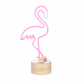 Large Pink Flamingo Neon Table Lamp With Wood Base
