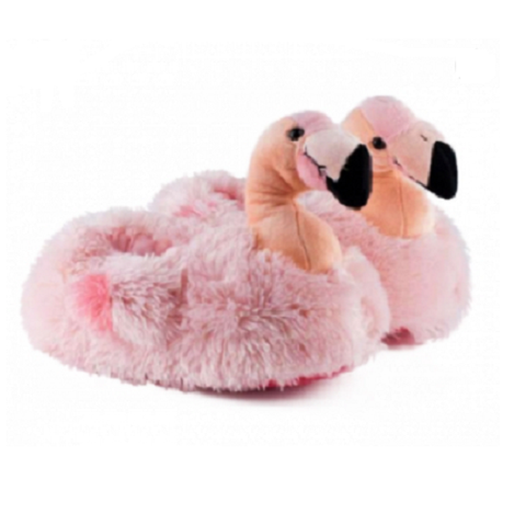 Pink Plush Flamingo Adult Slippers