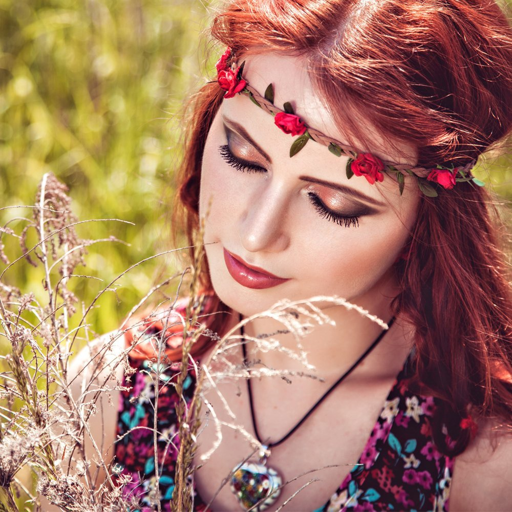 Boho Rose Flower Plaited Stretch Headband Red
